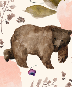 (Shopcabin) Floral Trail Bear, Large Floral Bear in Soft Ivory