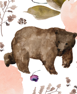 (Shopcabin) Floral Trail Bear, Large Floral Bear in White