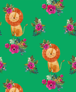 (Shopcabin) Leo, Floral Lion in Leafy Green