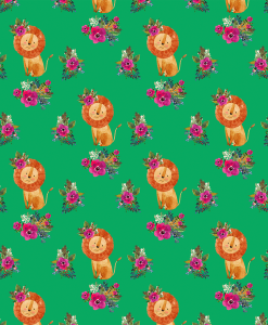 (Shopcabin) Leo, Small Floral Lion in Leafy Green