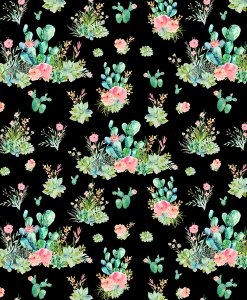 (Shopcabin) Western Boho Florals, Small Cactus Floral in Black