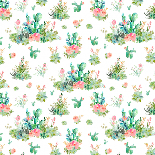 (Shopcabin) Western Boho Florals, Small Cactus Floral in White