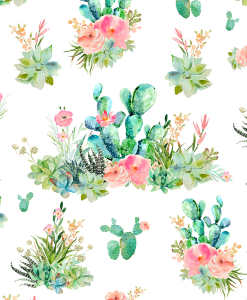 (Shopcabin) Western Boho Florals, Cactus Floral in White