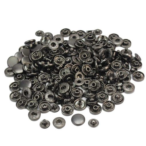 "Metal Snap Button 12mm (1/2"") in Gun Black - 10 sets 2"