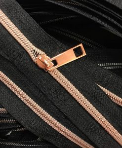Zipper by the yard #5, Nylon Coil Metallic Rose Gold on Salmon 3