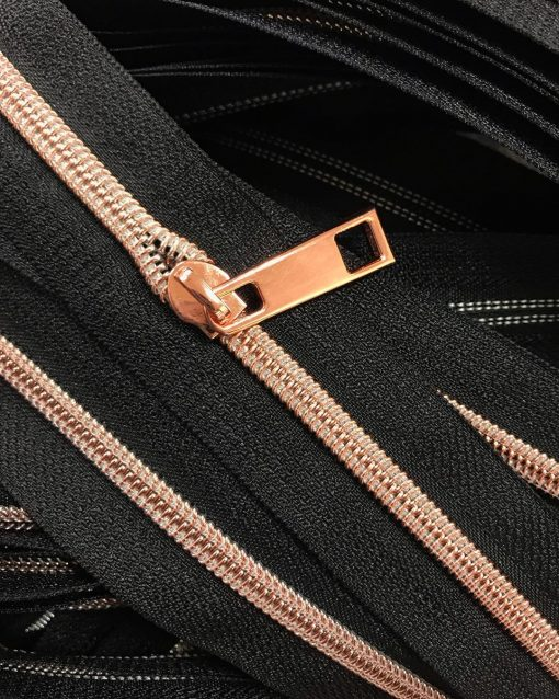Zipper by the yard #5, Nylon Coil Metallic Rose Gold on Salmon 2